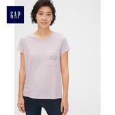 Gap女裝 純棉短袖印花口袋T恤 495413-薰衣草色