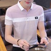韓版翻領短袖男t恤潮流半袖衣服體恤2019新款有帶領polo衫潮 露露日記