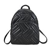 【南紡購物中心】MICHAEL KORS ABBEY小香風交叉衍縫後背包-中/黑