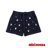MIKI HOUSE 可愛小兔愛心繡圖牛仔短褲(靛藍)