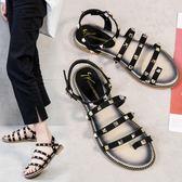 涼鞋女平底正韓百搭學生一字原宿風羅馬鞋 『米菲良品』