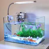 透明熱彎長方形玻璃金魚缸烏龜缸生態魚缸小型造景魚缸水族箱igo