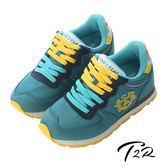 【韓國T2R】輕量撞色休閒內增高鞋 7cm↑ 綠(5600-0160)