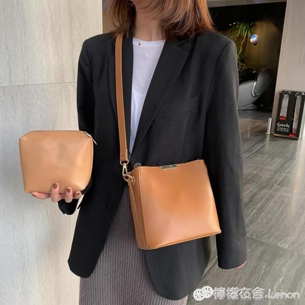 百搭網紅大容量水桶包包女新款韓版子母單肩包大包復古斜背包 檸檬衣舍