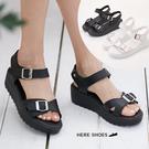 [Here Shoes]涼拖鞋-MIT台灣製一字魔鬼氈防水台厚底鬆糕底涼鞋─KTDW7726