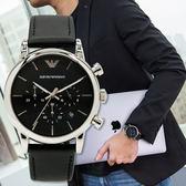 ARMANI 亞曼尼 AR1733 雅痞風潮三眼計時腕錶/皮革黑 熱賣中!