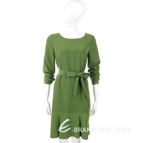 PHILOSOPHY 綠色抓褶下襬綁帶長袖洋裝 1230451-08