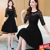 黑紅圓點透膚蕾絲領洋裝 M~4XL【583187W】【現+預】-流行前線-