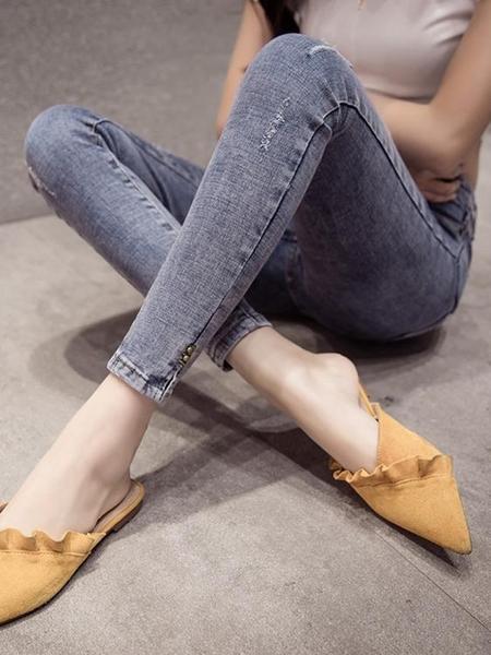 網紅牛仔褲女高腰春裝2021年新款女韓版緊身破洞淺藍顯瘦小腳褲子 韓國時尚週 免運