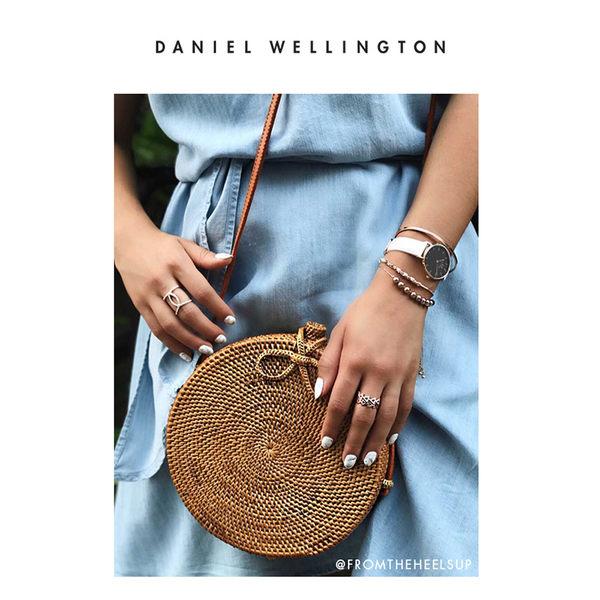 DW 手錶 官方旗艦店 28mm銀框 Classic Petite 純真白真皮皮革錶 - Daniel Wellington