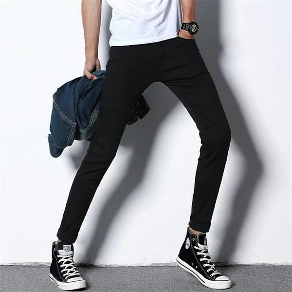 黑色牛仔褲男夏季薄款小腳修身褲子男韓版潮流彈力休閒長褲鉛筆褲 西城故事