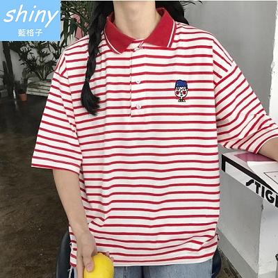 【V1718】shiny藍格子-春季序曲.刺繡卡通人物條紋短袖POLO衫