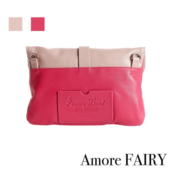 Amore小菲比7吋牛皮隨身包-桃紅+粉紫色