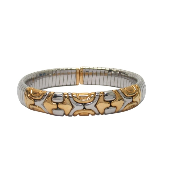 BVLGARI 寶格麗 金銀雙色18黃K金不鏽鋼手環 Albeare Bangle 【BRAND OFF】