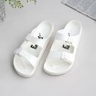 【333家居鞋館】Fun Plus+ 貼合舒適 樂活雙排扣室外拖鞋-白