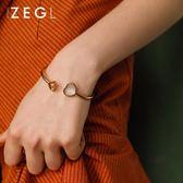 手鍊手鐲 開口心形手鐲時尚飾品鈦鋼手環情侶首飾 巴黎春天
