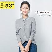 長版襯衫--復古風慵懶OverSize雙口袋直線條立領襯衫外套(黑XL-5L)-I84眼圈熊中大尺碼◎