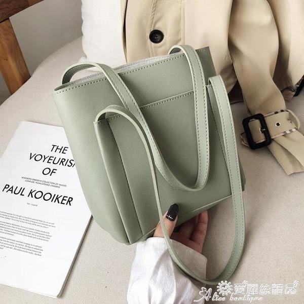 子母包 側背包女士包包2020流行新款潮韓版百搭子母包簡約時尚手提水桶包 愛麗絲