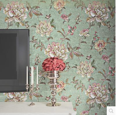 美式鄉村復古3D立體花朵無紡布牆紙臥室 客廳電視背景牆田園壁紙