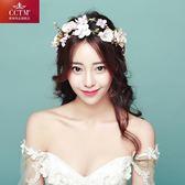 韓式新娘頭飾花環伴娘髪飾度假頭花蜜月花朵飾品結婚新款 Mt7923
