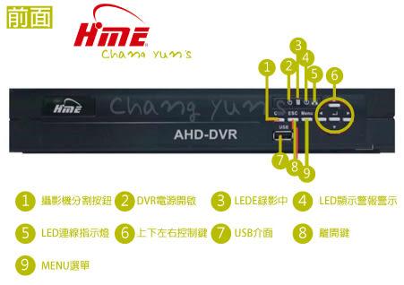 高雄/台南/屏東監視器 HM-16A AHD 16CH 1080P 環名HME 數位錄影主機 DVR主機 高清類比 支援手機監看