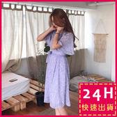 梨卡★現貨 - 韓國氣質甜美優雅花紋印花綁帶短袖雪紡連身裙連身短裙洋裝/2色B883