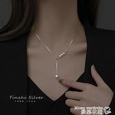項鍊 純銀項鍊2021年新款女鎖骨鍊仿珍珠吊墜時尚款頸鍊小眾輕奢夏飾品 新品