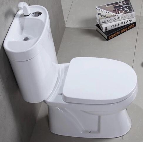 【麗室衛浴】小空間專用含龍頭 洗手馬桶加洗手功能 8004 H 雙體 兩段式沖水