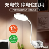 小台燈護眼書桌學生宿舍學習專用充電插電兩用led台風臥室床頭燈ATF「青木鋪子」
