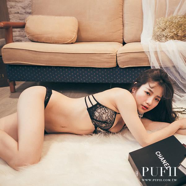 PUFII-內衣 性感深V爆乳蕾絲兩穿美背繞頸成套內衣褲組 2色- 0407 現+預 春【CP12427】