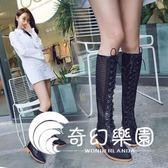 夏天靴子女包頭鏤空長靴2018新款性感黑色高筒靴系帶網紗顯瘦女靴-奇幻樂園