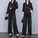 S-3XL長袖牛仔兩件套~牛仔闊腿褲套裝女秋裝時尚休閑短外套兩件套BF13C愛尚布衣