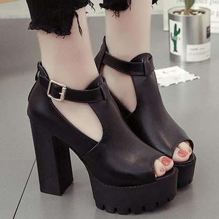 (現貨)DE shop - 魚嘴防水台高跟鞋粗跟黑色性感12cm厚底涼鞋 - CC-2555