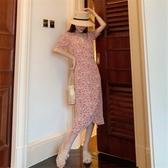大碼女裝-年新款胖mm顯瘦碎花雪紡v領連衣裙子夏天輕奢小香風大碼女裝