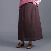 C19256-麻棉秋款A字長裙