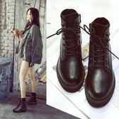 真皮馬丁靴女英倫風短靴學生百搭內增高靴子棉鞋女 糖果時尚