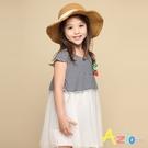 Azio 女童 洋裝 草莓吊飾橫條紋澎澎網紗短袖洋裝(黑) Azio Kids 美國派 童裝