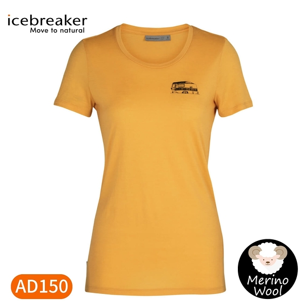 【Icebreaker 女 Tech Lite 大圓領短袖上衣 AD150 篷車生活《黃》】IB105545/快乾機能服/排汗衫