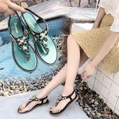 波西米亞水鉆夾趾涼鞋女鞋2018夏季新款百搭鬆緊帶套腳沙灘休閒鞋『新佰數位屋』