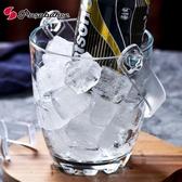 冰桶 土耳其進口玻璃冰桶家用冰塊桶KTV酒吧自帶冰夾提手小號創意冰桶【快速出貨八折下殺】