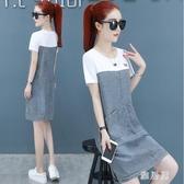 韓版假兩件休閒牛仔裙子2020夏季新款流行女裝寬鬆顯瘦短袖連身裙洋裝 OO11568【雅居屋】