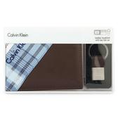 CalvinKlein 壓印LOGO素面皮革短夾鑰匙圈禮盒(咖啡色-含帕巾)103088-1