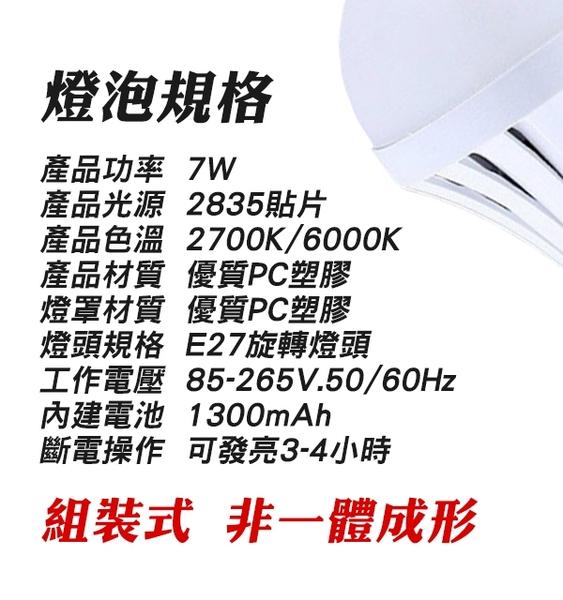【刀鋒】7W觸控式應急LED省電燈泡+帶開關E27充電燈座套組 觸控式燈泡 緊急照明 露營 現貨