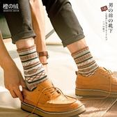秋冬季民族風中筒襪男士加厚保暖日系防臭復古長襪原宿個性棉襪子 美芭