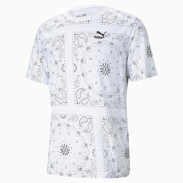 【現貨】PUMA OffBeat 男裝 短袖 純棉 休閒 滿版 變形蟲 印花 白 歐規【運動世界】53254402