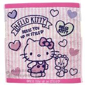 〔小禮堂〕Hello Kitty 純棉無捻紗方形毛巾《粉藍.條紋愛心》34x36cm.手帕.丸真毛巾 4992272-68062