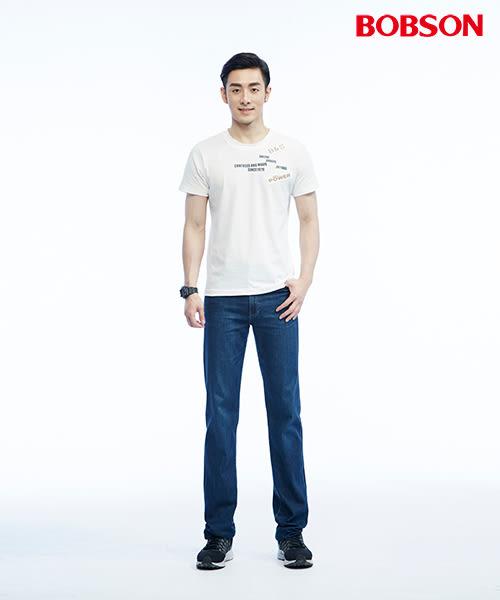 BOBSON   男款高腰貓鬚刷白直筒褲(1819-53)