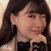 耳環 韓國直送‧愛心水鑽珍珠垂鍊耳環-Ruby s 露比午茶