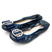 G.Ms. 微甜半糖-柔軟彎折牛皮平底娃娃鞋-藏青藍