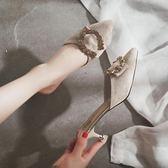 懶人半拖鞋 時尚外穿細跟高跟鞋貓跟涼拖鞋【多多鞋包店】z7657